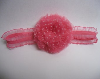 Pink Polka Dot Headband, Toddler Headband, Pink Headband, Flower Headband