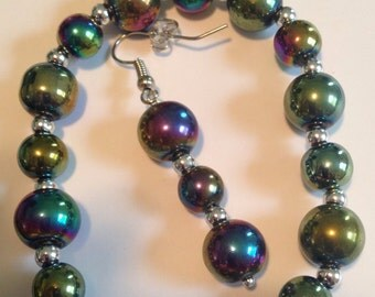Iridescent and Silver Bracelet and Earring Set -L49