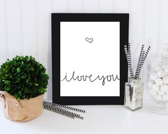 Printable typography - I love you