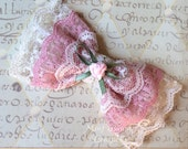 Victorian Inspired Lace Bow, roses, pink, vintage-inspired