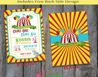 Personalized PRINTABLE Carnival Themed Invitation - Circus Birthday Party Invitation - Customized Party Invitation (B114))