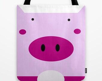 Pig Tote Bag / Pig   Bag / piglet Tote Bag