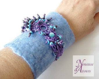 Blue and purple Cuff Bracelet felted wool and micro-macrame