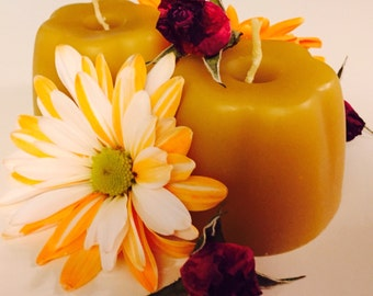 100% Pure Beeswax votive candles-set of 2 beeswax candles-3oz beeswax votive candles-beeswax candle set