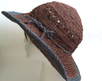 Crochet sun hat.Summer hat with wide periphery.Crochet sun hat with natural hemp.Brown sun hat. Women sun hat.Summer hat..Modern sun hat.