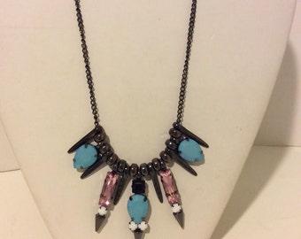 Black blue pink spiky short statement necklace