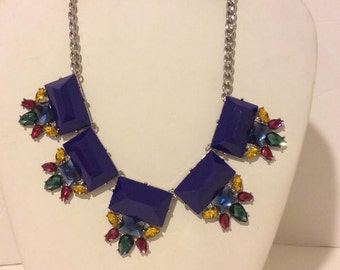 Royal blue multi art deco chunky necklace