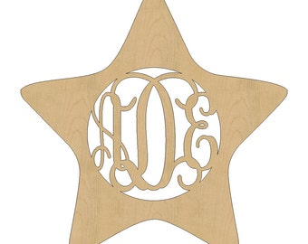 Unfinished Wooden Monogram Hanging Star Wood By Aihconcepts
