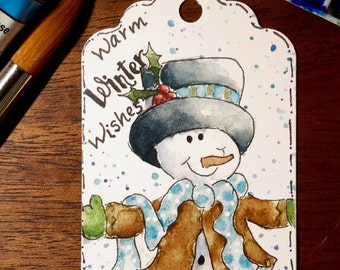 8 Snowman Gift Tag Prints; Winter Tags; Holiday Gift Tags; Christmas Gift Cards; Christmas Snowman Gift Tags; Watercolor Gift Tags