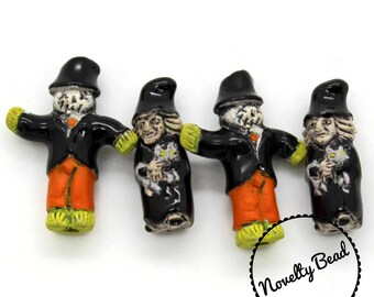4 - Small - Witch & Scarecrow Beads - Halloween Beads - Fall Beads - Novelty Beads - Ceramic