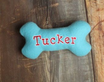 Treat Pocket Personalized Stuffed Squeaky Dog Bone Toy