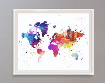 EXTRA 50% OFF Multiple Purchases Instant Download Printable Art Colorful World Map Print