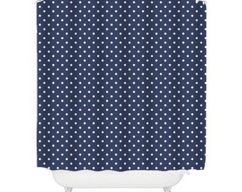 spotted navy shower curtain, navy bathroom decor, navy shower curtain, bathroom decor, spot shower curtain, shower curtain with spot, blue