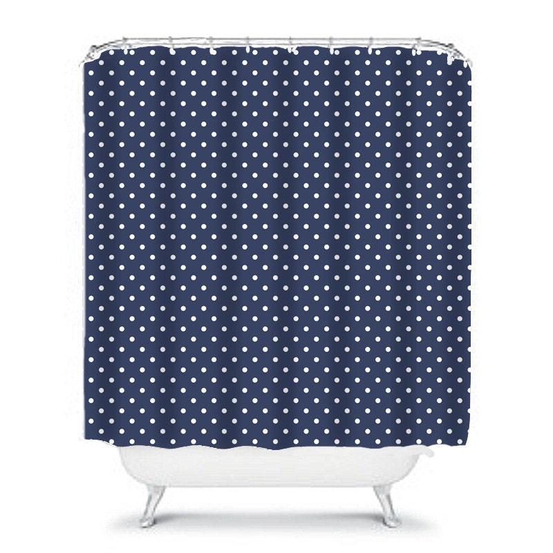 Spotted Navy Shower Curtain Navy Bathroom Decor Navy Shower