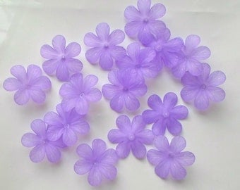 20 x Beautiful Huge Acrylic Frosted Flower Beads 33mm Translucent Purple - UK Seller