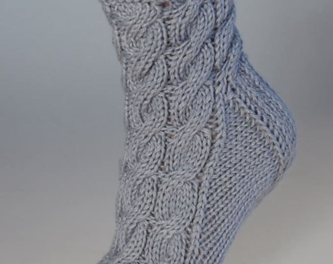 Ladies luxury alpaca & mulberry silk handmade cable bed socks by Willow Luxury