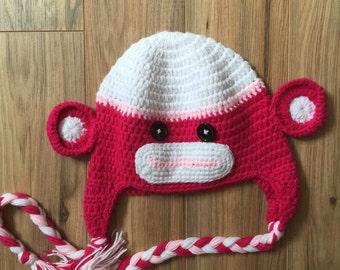Hot pink sock monkey crochet hat, monkey hat, girl sock mobley hat, pink hat, monkey knit hat