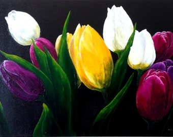 Tulips of The Night, Acrylic Painting