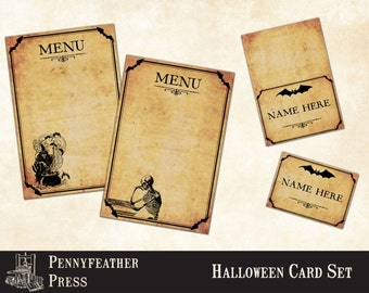 Halloween Menu and Place Card Set Tent Card Printable Party Decor Decoration Clipart Instant Digital Download