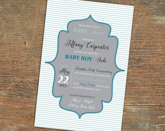 Striped Blues Baby Boy Shower Invitation, Customizable, Printable