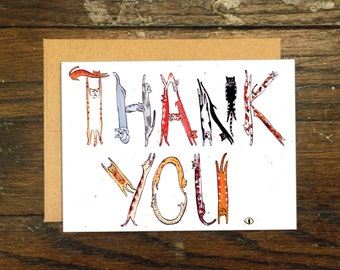 Cat Lettered Thank You Greeting Card