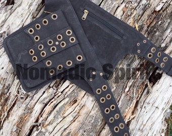 Leather festival belt with 4 large pockets with metal eyelets and zip and snaplock closure