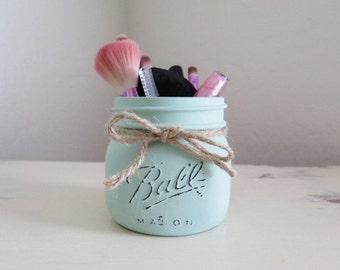 Cosmetics Makeup Brush Holder, Distressed Mason Jar, Mason Jar Decor, Vanity Storage, Rustic Bathroom Decor, Kitchen Decor, Mint Green