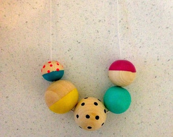 Spots and Stripes // multi colours // hand painted round wooden bead necklace