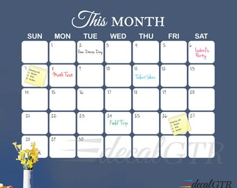 48x60 Dry-Erase Wall Calendar Vinyl Decal with Rounded Corners - 4 feet x 5ft -Title - LARGE Adhesive-backed Calendar Vinyl Sticker - D007