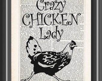 crazy chicken lady guy man gift for poultry lovers home decor wall art vintage dictionary print