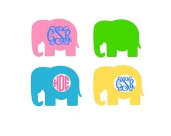Elephant Monogram Set SVG, Studio 3, DXF, EPS and pdf Cutting Files for Electronic Cutting Machines