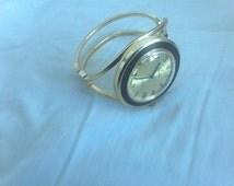 Vintage Lausanne 17 Jewels Shock Proof Spring Bracelet Woman's Manual Wind Watch In Box