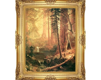 Framed Pictures Giant Redwoods of California Albert Bierstadt - Painting Reproduction Art Print on Canvas - Small to Large Sizes - M00333