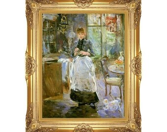 Framed Art Print In the Dining Room Berthe Morisot Canvas Giclee Painting Reproduction - Small to Large Sizes - M00251