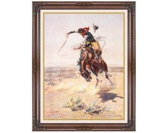Western Art Print A Bad Hoss Charles Russell Horse Framed Canvas Painting Reproduction - Sizes Small to Large - M01703
