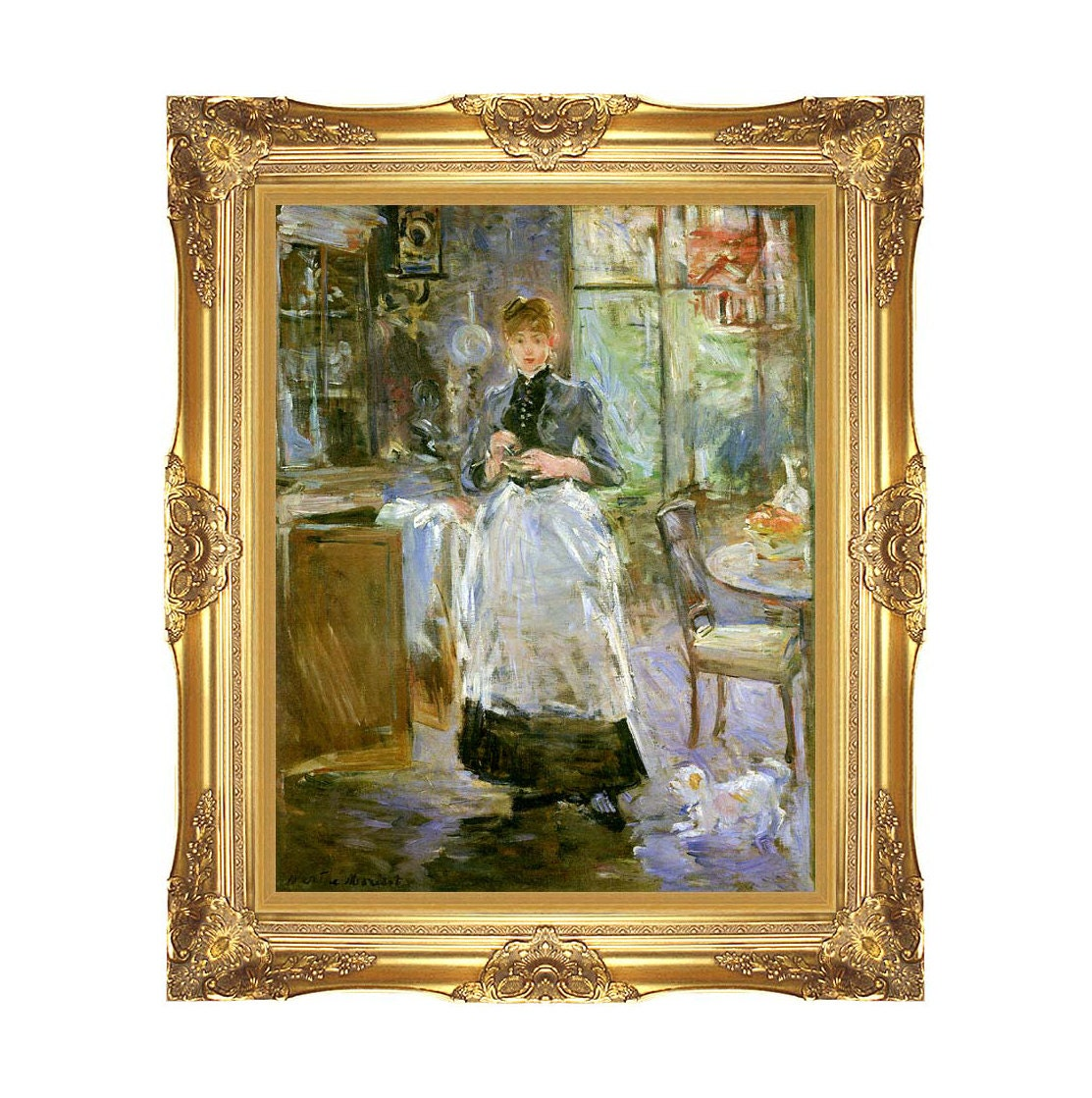 framed art print in the dining room berthe morisot canvas