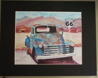 old rusty 1950 chevy truck art print 5inx7in or 8inx10in available matted and clear sleeve ready for shipping