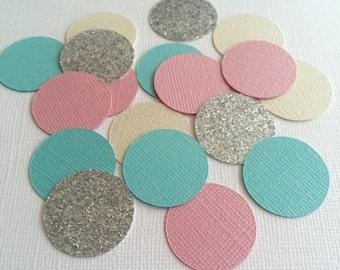 50 Piece Pastels and Silver Glitter Confetti!-Birthday Party Confetti