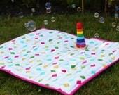 Waterproof Picnic Blanket in Flotologie Sorbet Kites, Indoor/Outdoor Quilted Padded Baby Blanket, Pink, Rainbow, colourful, Bright, Sensory