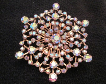 Large 1950's Aurora Borealis BROOCH, Sparkly and Gorgeous