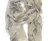 SALE on Scarves - Made in Italy - Oversized Shawls Wraps - Silk Scarf - Infinity Scarf - italian Scarf - Gray Printed Scarf - Summer Scarves