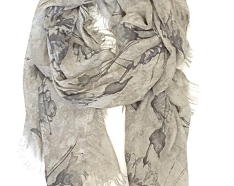 Womens Scarves - Made in Italy - Oversized Shawls Wraps - Silk Scarf - Infinity Scarf - italian Scarf - Gray Printed Scarf - Summer Scarves