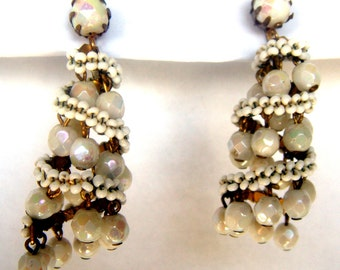 Earrings antique milk glass Germany 30th