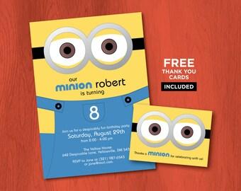 Printable MINION Birthday Invitations - Personalized Despicable Me Invites - Minions Party - Minion Invitations - Minions Printables