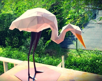 "Sculpture d'animal fait en  papier "" HERON BLANC"" DIY hand craft,"