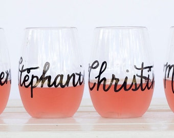 Personalized PLASTIC Wine Glasses Recyclable Plastic with Personalized Wedding Calligraphy for Bachelorette Party, Wedding, Shower, or Event