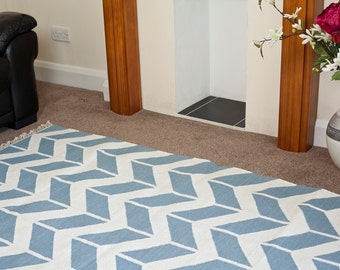 Arrow Light Blue and White Area Rug