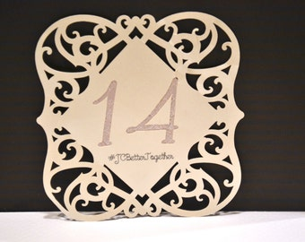 Beautiful Customizable Champagne Table Numbers (pack of 10)