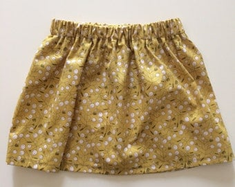 Baby/Toddler/Girls Mustard Floral Skirt