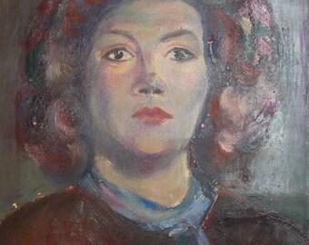 Antique woman portrait oil painting